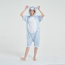 Kids And Adults Blue Cat Summer Short Onesie Kigurumi Pajamas