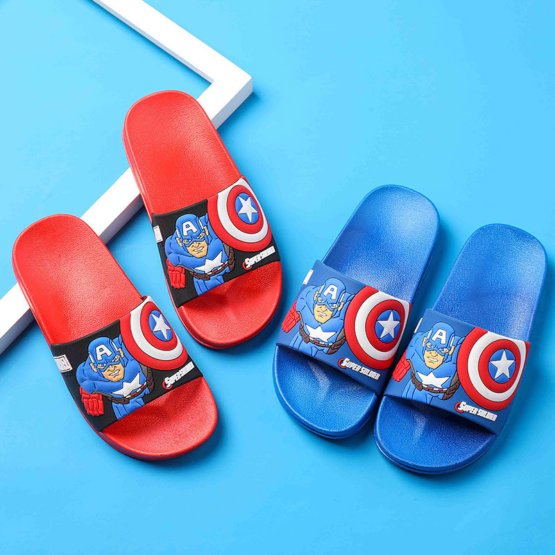 Toddlers Kids Captain America Flat Beach Home Slippers