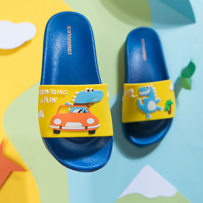 Toddlers Kids Cartoon Car and Dragon Flat Beach Home Slippers