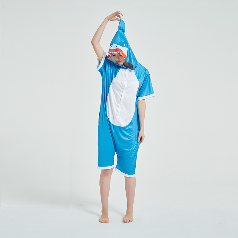 Kids And Adults Blue Shark Summer Short Onesie Kigurumi Pajamas