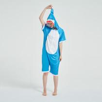 Kids And Adults Blue Shark Summer Short Onesie Kigurumi Pajamas