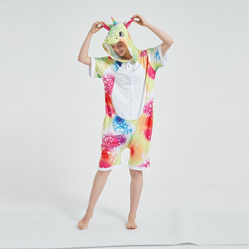 Kids And Adults Rainbows Stars Unicorn Summer Short Onesie Kigurumi Pajamas