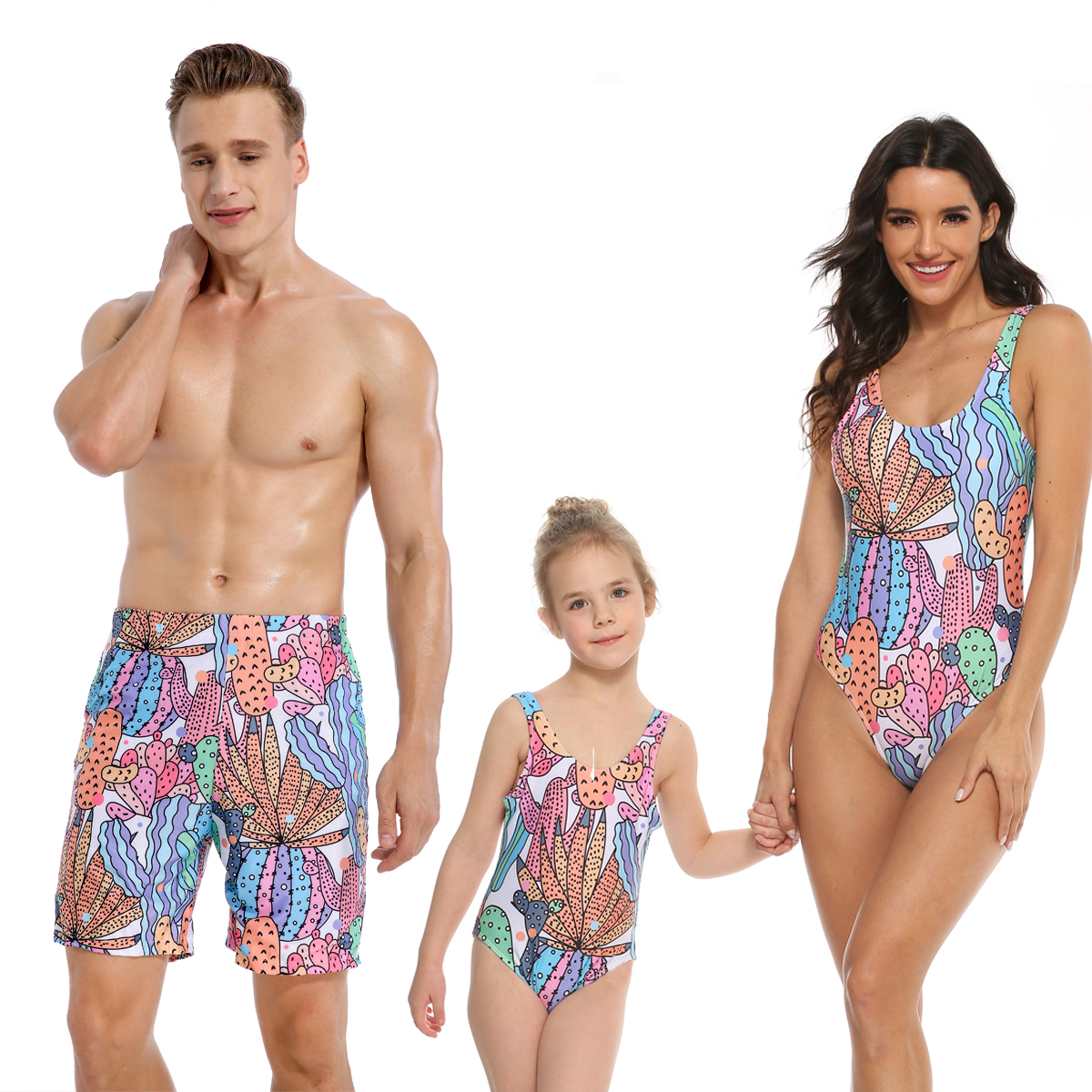 Family Matching Swimwear Prints Rainbow Cactus Swimsuit