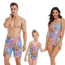 Family Matching Swimwear Prints Rainbow Cactus Swimsuit