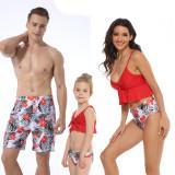 Family Matching Swimwear Printing Flowers Leaves V-neck Bikini Set