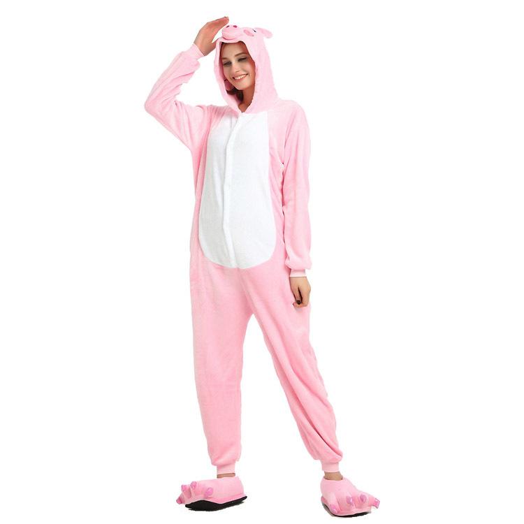 Unisex Adult Pajamas Pink Pig Animal Cosplay Costume Pajamas