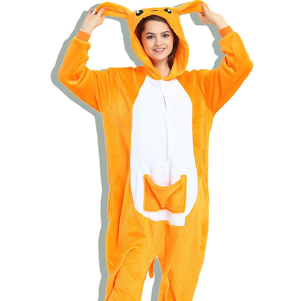 Unisex Adult Pajamas Brown Kangaroo Animal Cosplay Costume Pajamas