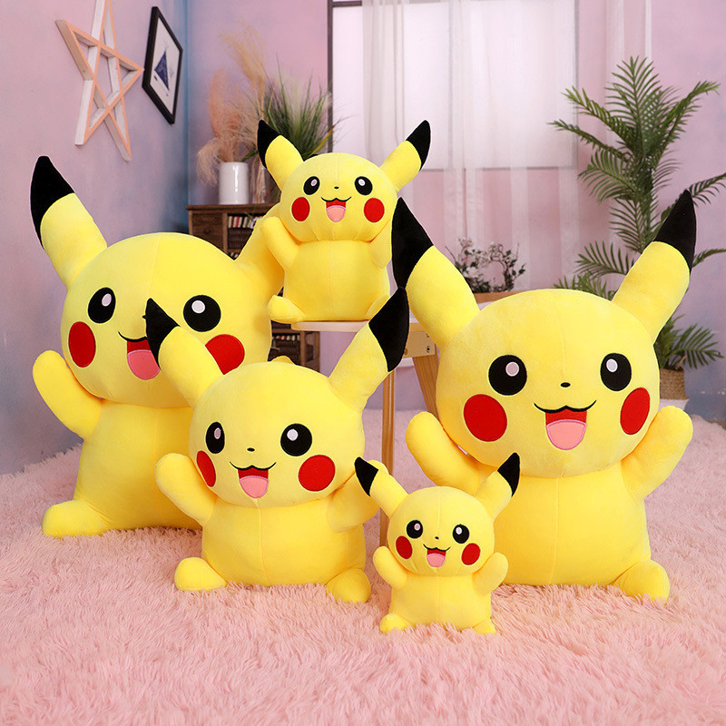 Yellow Smile Pikachu Pokemon Stuffed Plush Animal Doll for Kids Gift