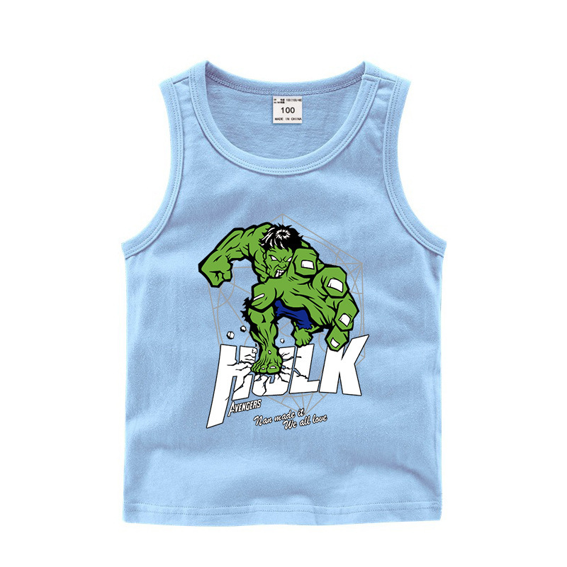 Toddler Boy Print Marvel Hulk Sleeveless Cotton Vest for Summer