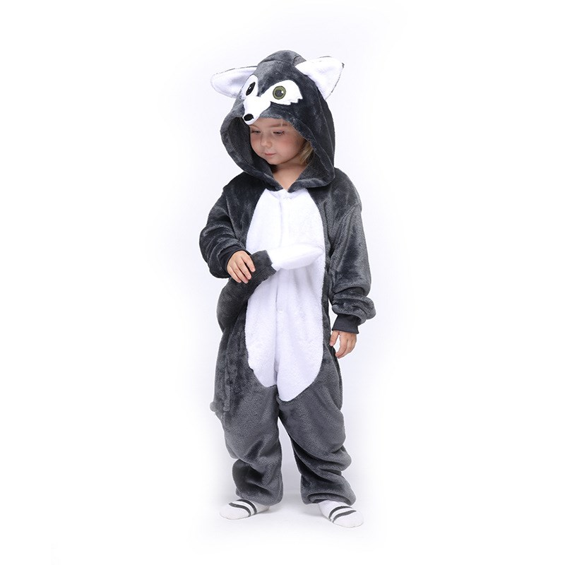 Kids New Grey Wolf Onesie Kigurumi Pajamas Animal Cosplay Costumes for Unisex Children