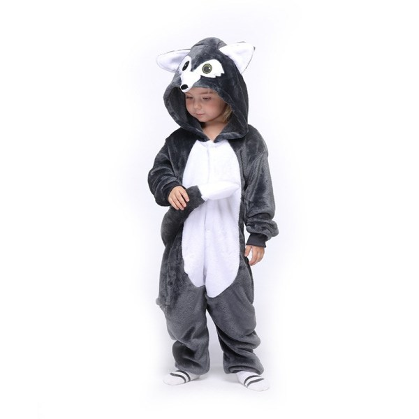 Kids New Grey Wolf Onesie Kigurumi Pajamas Animal Cosplay Costumes for Unisex Children