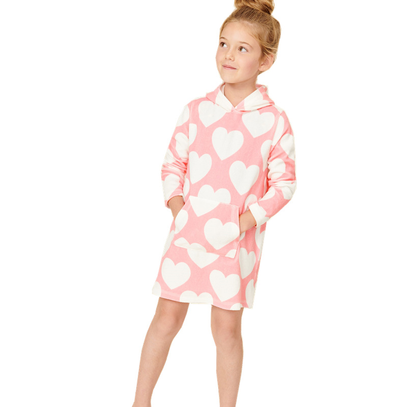 Toddler Girls Prints Hearts Pocket Long Sleeve Hooded Dresses