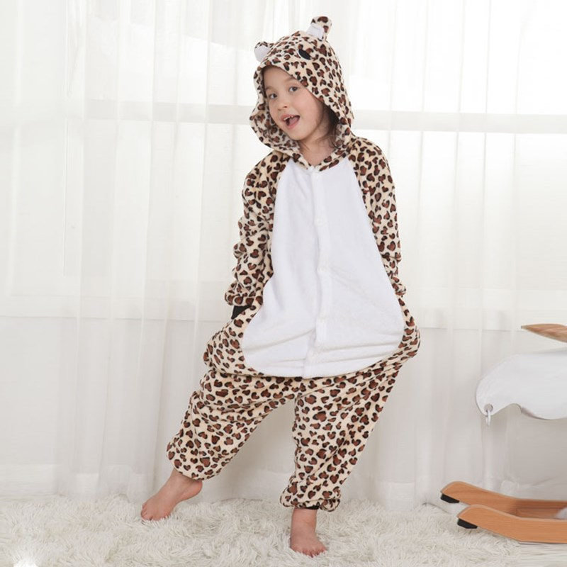 Kids Brown Leopard Bear Onesie Kigurumi Pajamas Animal Cosplay Costumes for Unisex Children