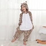 Kids Brown Leopard Bear Onesie Kigurumi Pajamas Animal Cosplay Costumes for Unisex Children