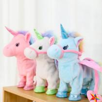 Unicorn Angel Pink Wings Lead Rope Walking Singing Electronic Stuffed Plush Animal Doll for Kids Gift