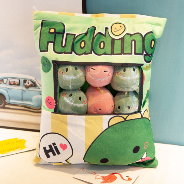 Cute Bag of Green Dinosaurs Plush Soft Toy Throw Pillow Pudding Pillow Creative Gifts