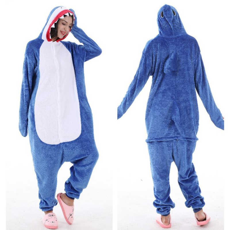 Kids Blue White Shark Onesie Kigurumi Pajamas Animal Cosplay Costumes for Unisex Children