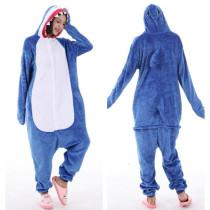 Kids Blue White Shark Onesie Kigurumi Pajamas Animal Cosplay Costumes for Unisex Children
