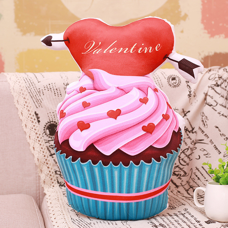 Simulation 3D Chocolate Love Cake Ice Cream Soft Stuffed Plush Animal Doll for Valentine's Day Gift