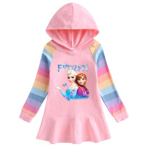 Toddler Girls Prints Frozen Alsa Color Matching Rainbow Long Sleeve Hooded Dresses