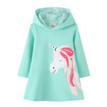 Toddler Girls Prints Unicorn Long Sleeve Hooded Dresses