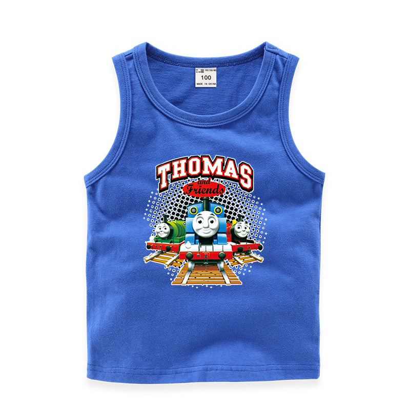 Toddler Boy Print Thomas & Friends Train Sleeveless Cotton Vest for Summer