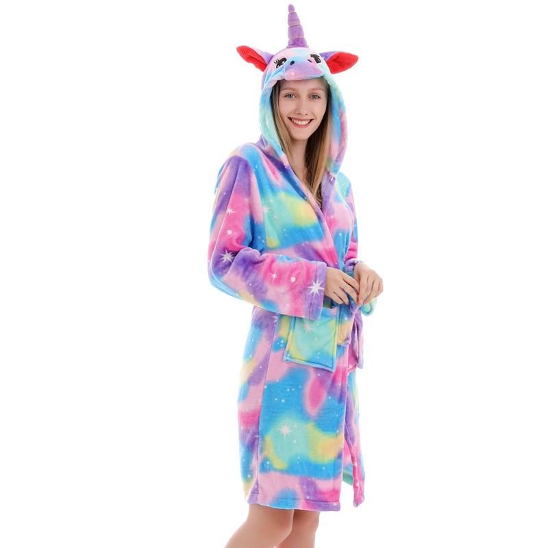 Mom And Kids Parent-child Blue Stars Unicon Soft Bathrobe Sleepwear Comfortable Loungewear