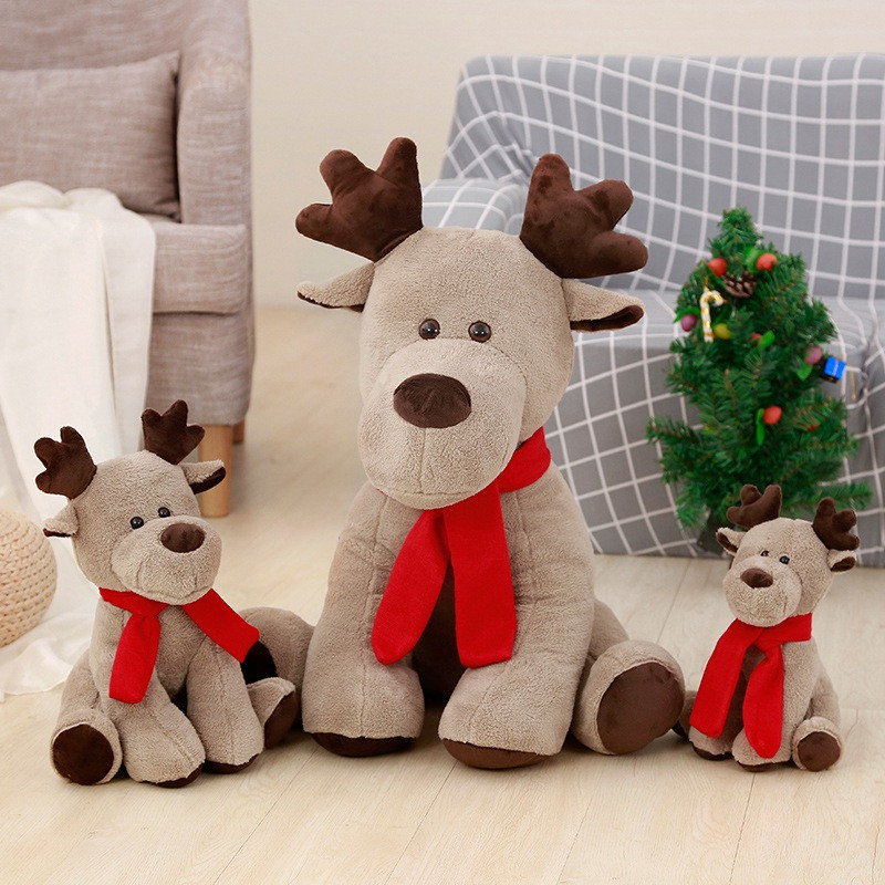 Merry Christmas Elk Soft Stuffed Plush Animal Doll for Kids XmasGift