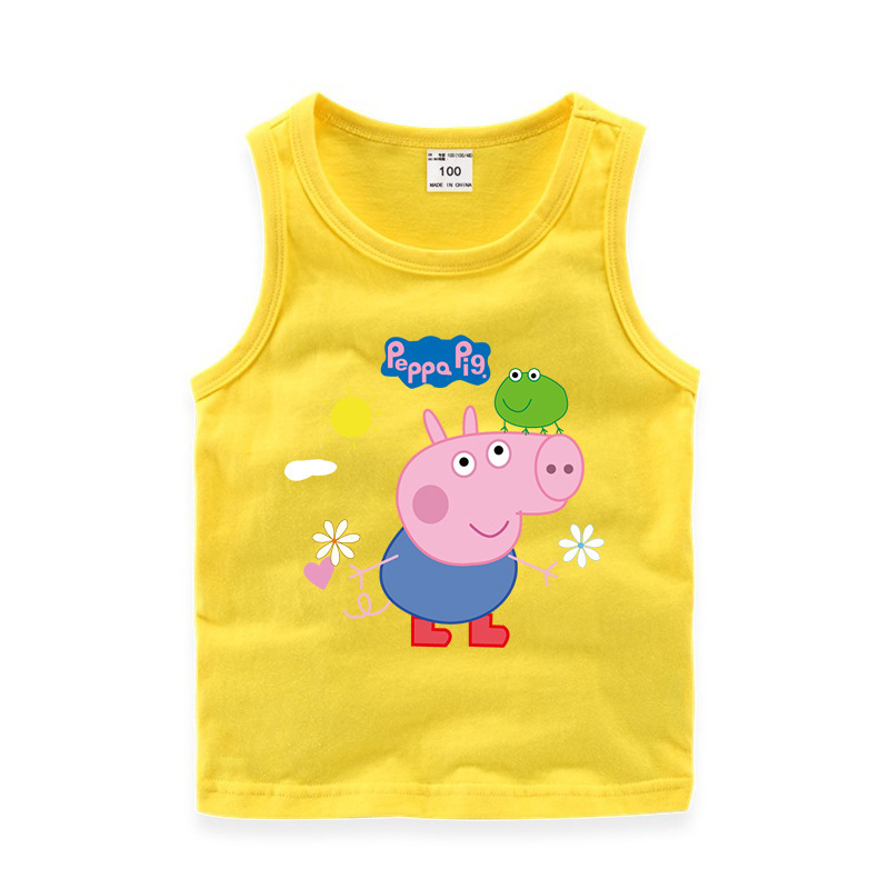 Toddler Boy Print Cartoons Peppa Pig Frog Sleeveless Cotton Vest for Summer