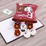 Cute Bag of Brown Bear White Rabbit Plush Soft Toy Throw Pillow Pudding Pillow Creative Gifts