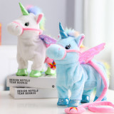 Unicorn Angel Pink Wings Lead Rope Walking Singing Electronic Stuffed Plush Animal Doll for Kids Gift