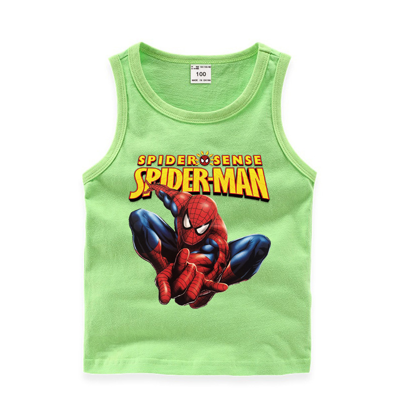 Toddler Boy Print Marvel Spiderman Slogan Sleeveless Cotton Vest for Summer