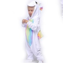 Kids Colorful Unicon Onesie Kigurumi Pajamas Animal Cosplay Costumes for Unisex Children