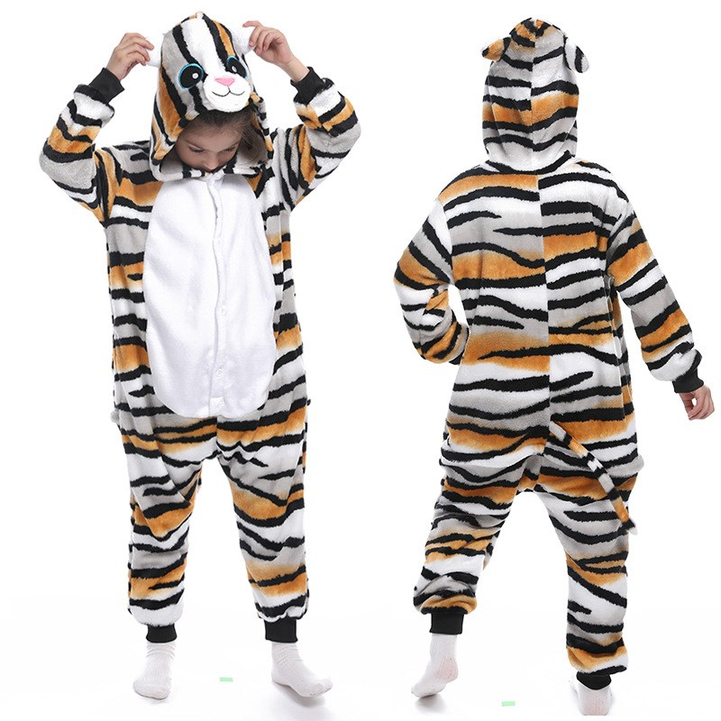 Kids Black Yellow Stripe Tiger Cat Onesie Kigurumi Pajamas Animal Cosplay Costumes for Unisex Children