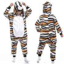 Kids Black Yellow Stripe Tiger Cat Onesie Kigurumi Pajamas Animal Cosplay Costumes for Unisex Children