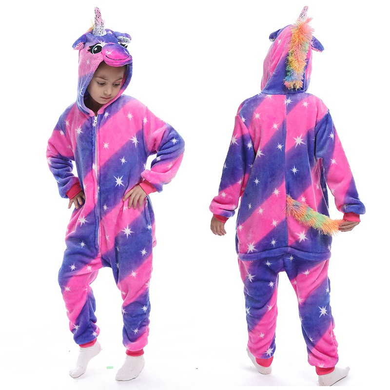 Kids Fancy Diamond Unicon Onesie Kigurumi Pajamas Animal Cosplay Costumes for Unisex Children