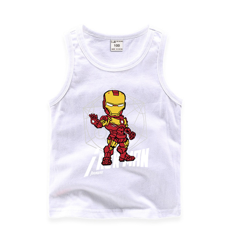 Toddler Boy Print Marvel Iron Man Sleeveless Cotton Vest for Summer