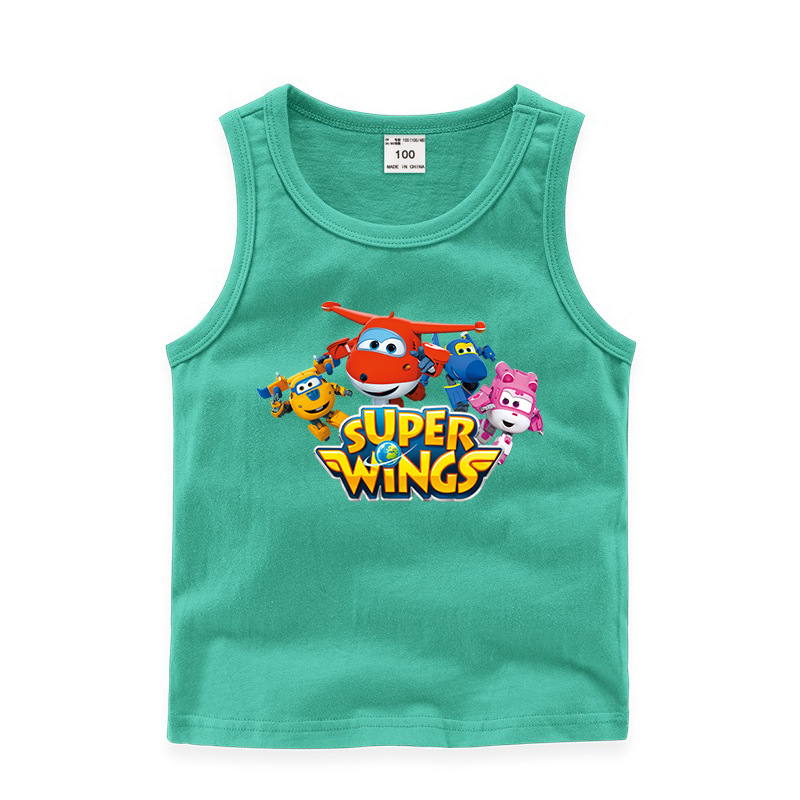 Toddler Boy Print Transform Super Wings Sleeveless Cotton Vest For Summer