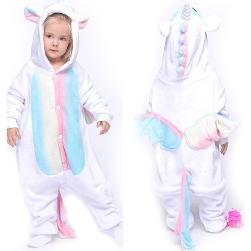 Kids White Rainbow Unicon Onesie Kigurumi Pajamas Animal Cosplay Costumes for Unisex Children
