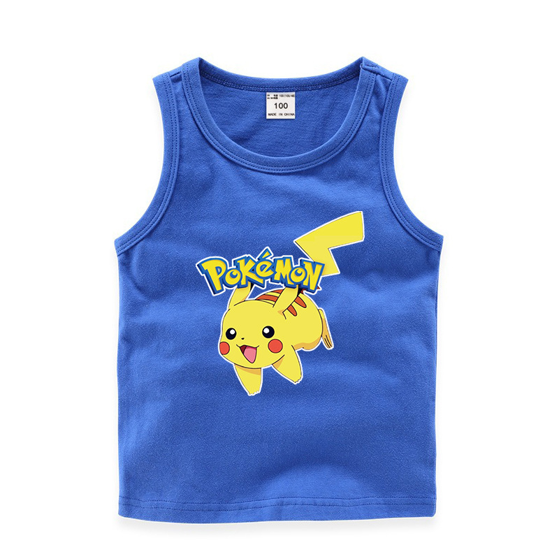 Toddler Boy Print Pikachu Pokemon Sleeveless Cotton Vest for Summer
