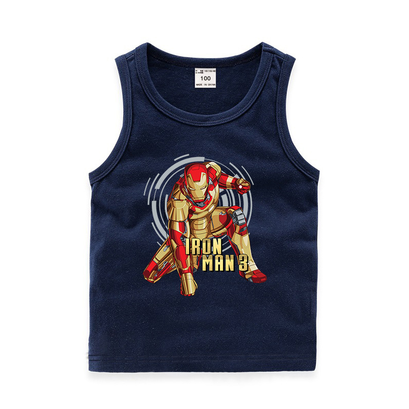 Toddler Boy Print Avengers Iron Man Sleeveless Cutton Vest for Summer