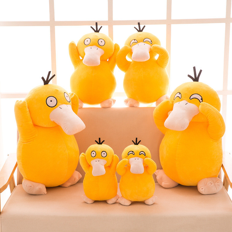 Pikachu Pokemon Psyduck Yellow Duck Soft Stuffed Plush Animal Doll for Kids Gift