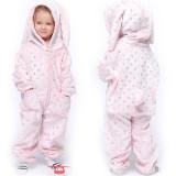 Kids Pink Bronzing Dots Rabbit Onesie Kigurumi Pajamas Animal Cosplay Costumes for Unisex Children
