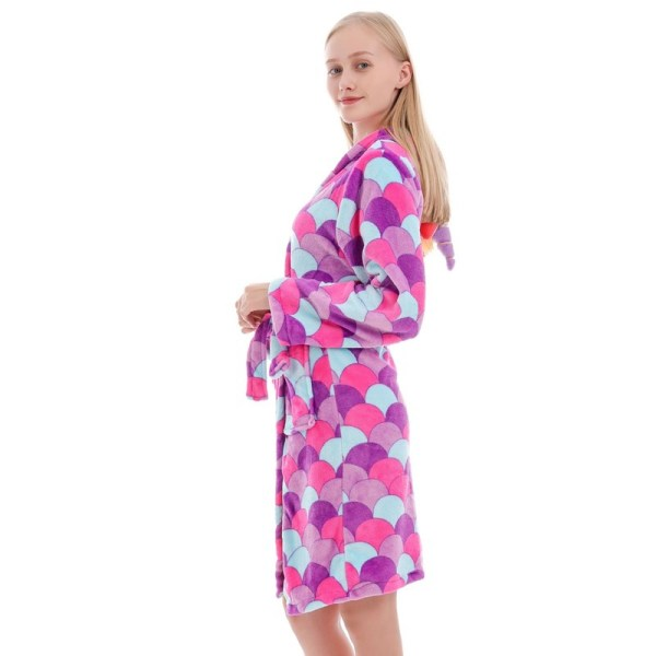 Mom And Kids Parent-child Colorful Scales Unicon Soft Bathrobe Sleepwear Comfortable Loungewear