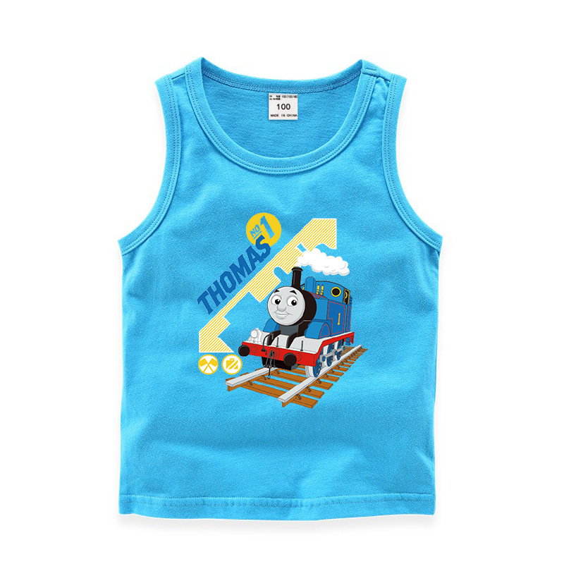 Toddler Boy Print Thomas Train Sleeveless Cotton Vest for Summer