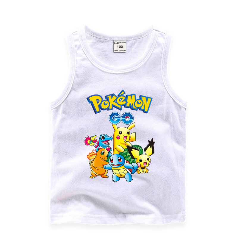 Toddler Boy Print GO Pikachu Pokemon Sleeveless Cotton Vest for Summer