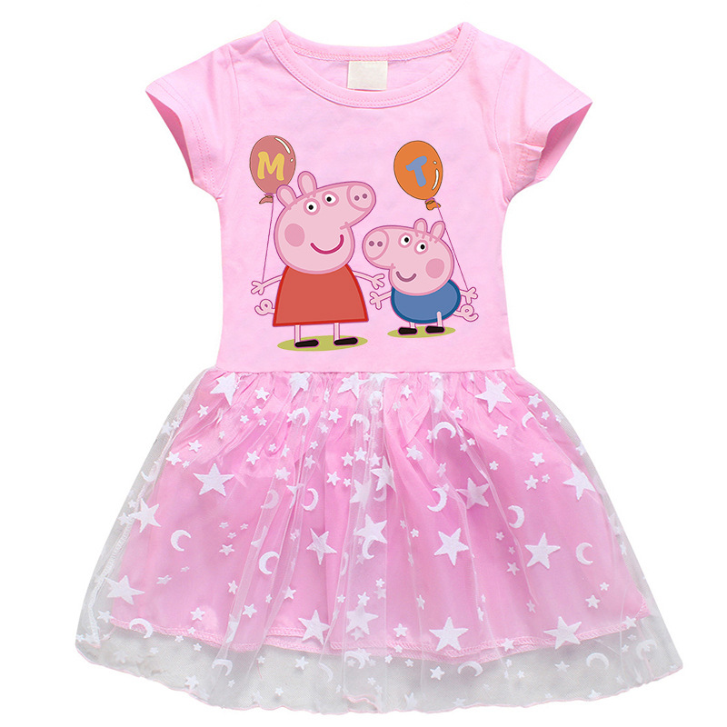 Toddler Girls Prints Peppa Pig Balloon A-line Lace Tutu Short Sleeve Dresses