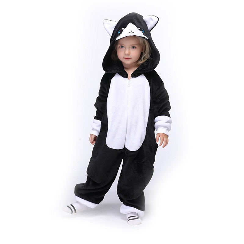 Kids Black and White Cat Onesie Kigurumi Pajamas Animal Cosplay Costumes for Unisex Children