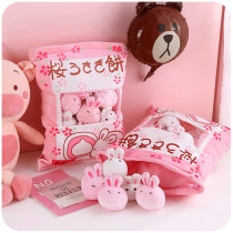 Cute Bag of Cherry Blossom Pink Rabbit Plush Soft Toy Throw Pillow Pudding Pillow Creative Gifts
