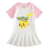 Toddler Girls Prints Pokemon Pikachu A-line Pleated Short Sleeve Dresses